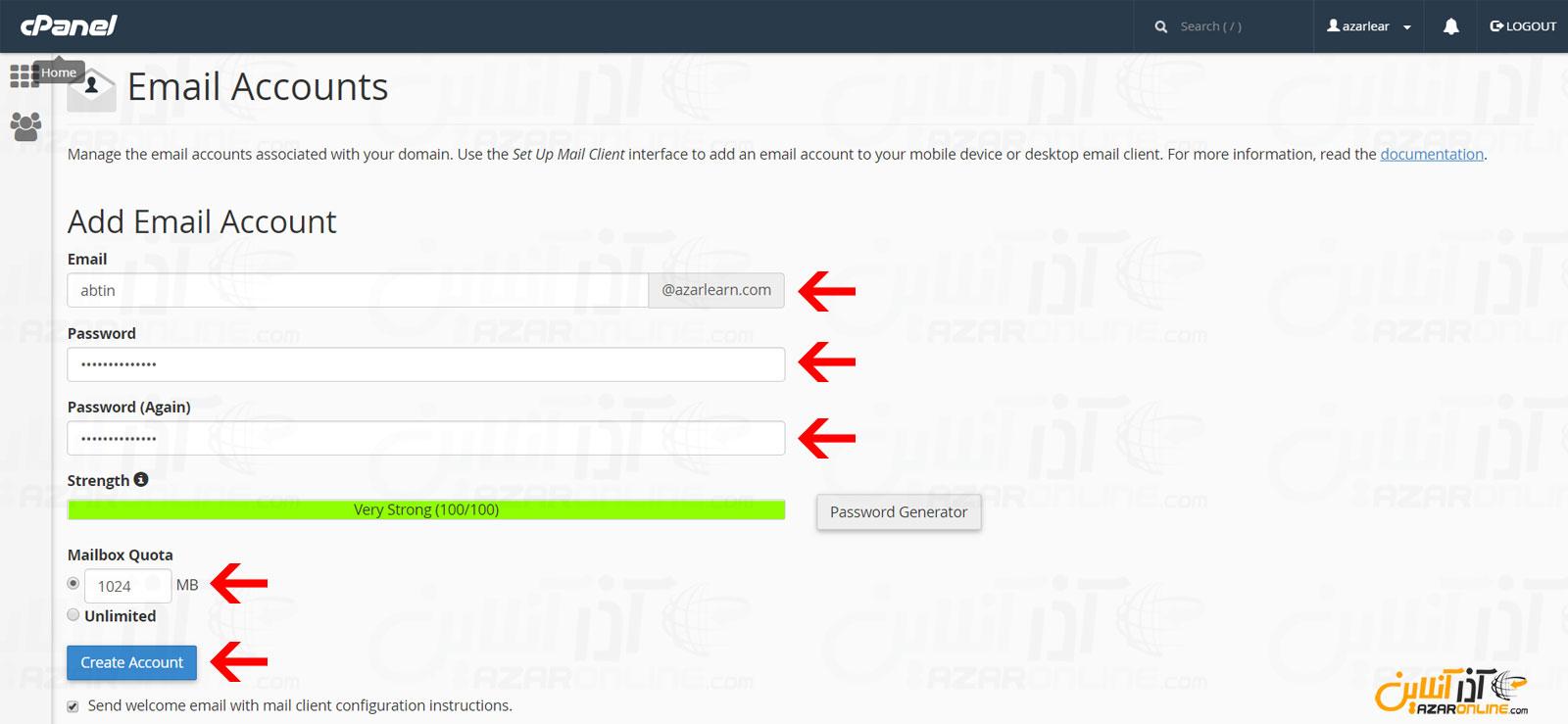 وارد کردن اطلاعات جهت ساخت ایمیل