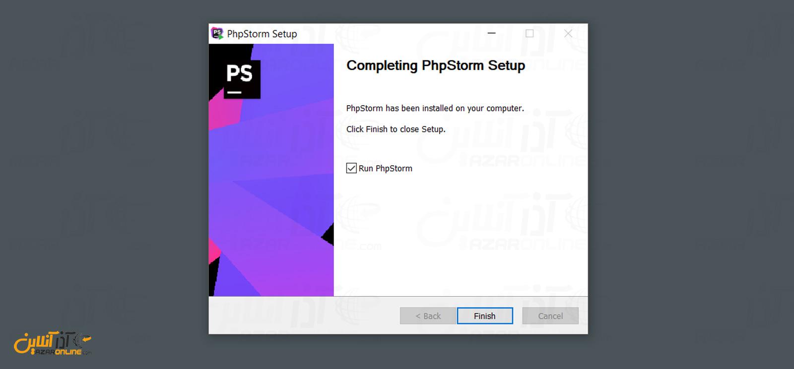 پایان نصب phpstorm در ویندوز