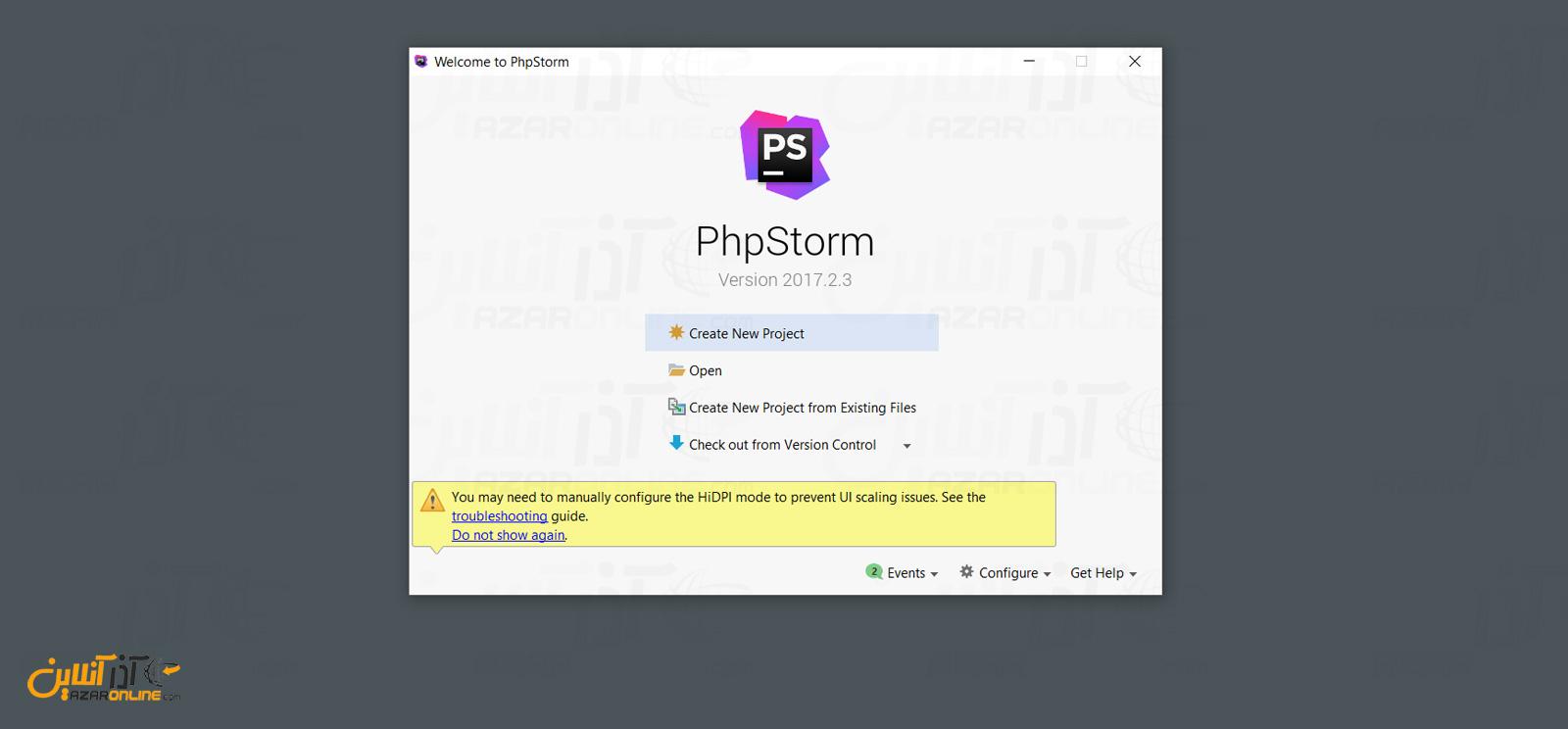 باز کردن یک پروژه جدید در phpstorm