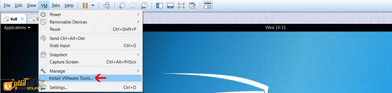 کلیک بر روی Install VMware tools