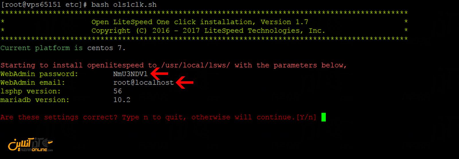شروع نصب لایت اسپید در Centos 7 و نمایش پسورد ورود به داشبورد