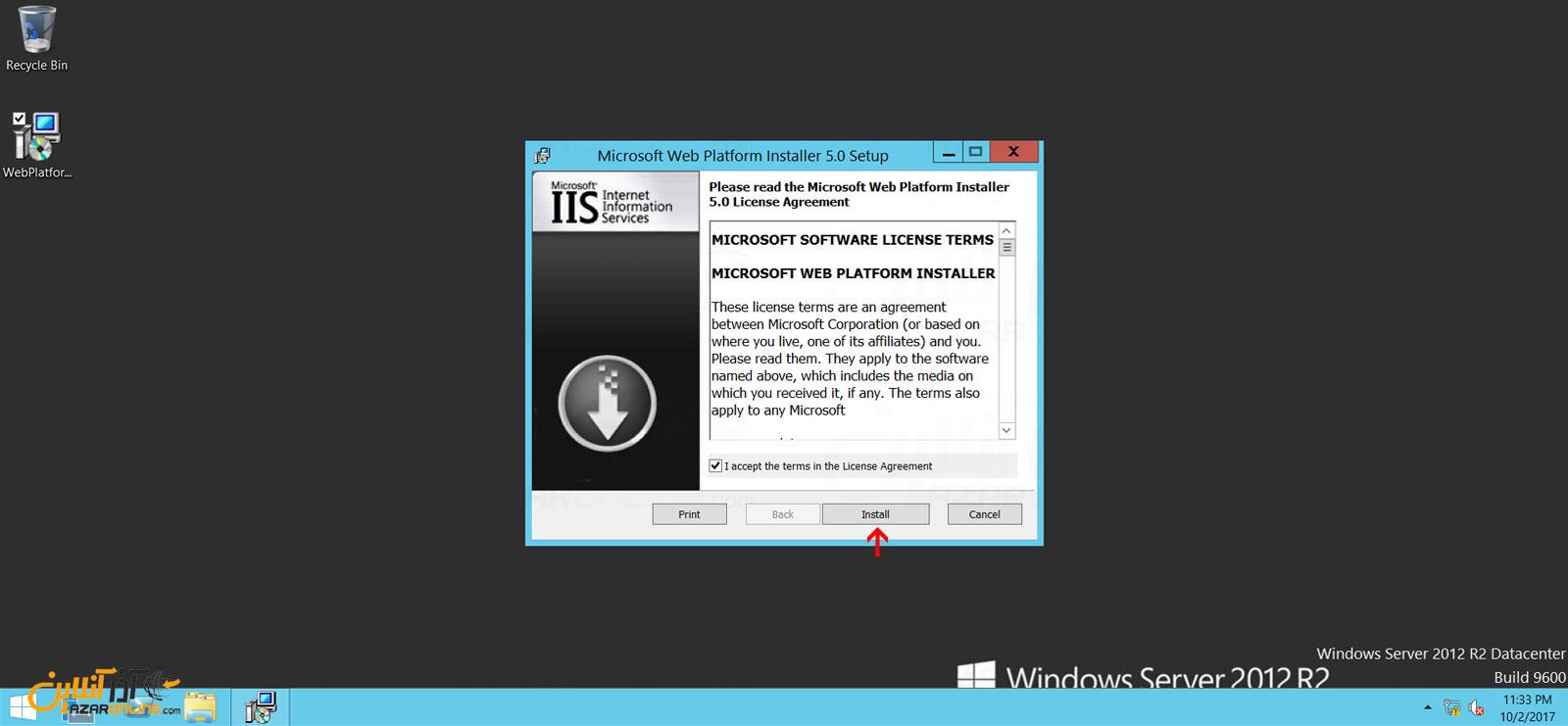 نصب web platform installer