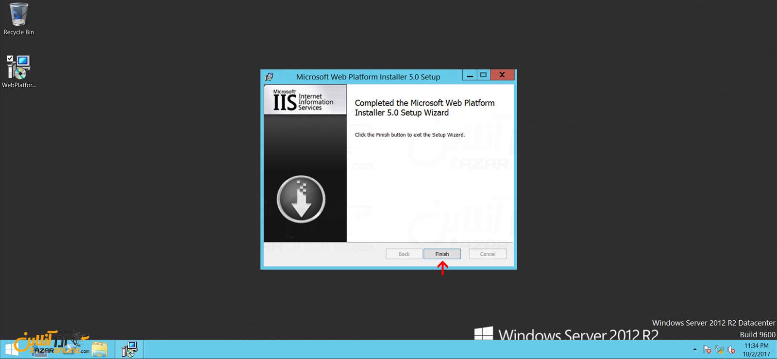 پایان نصب web platform installer