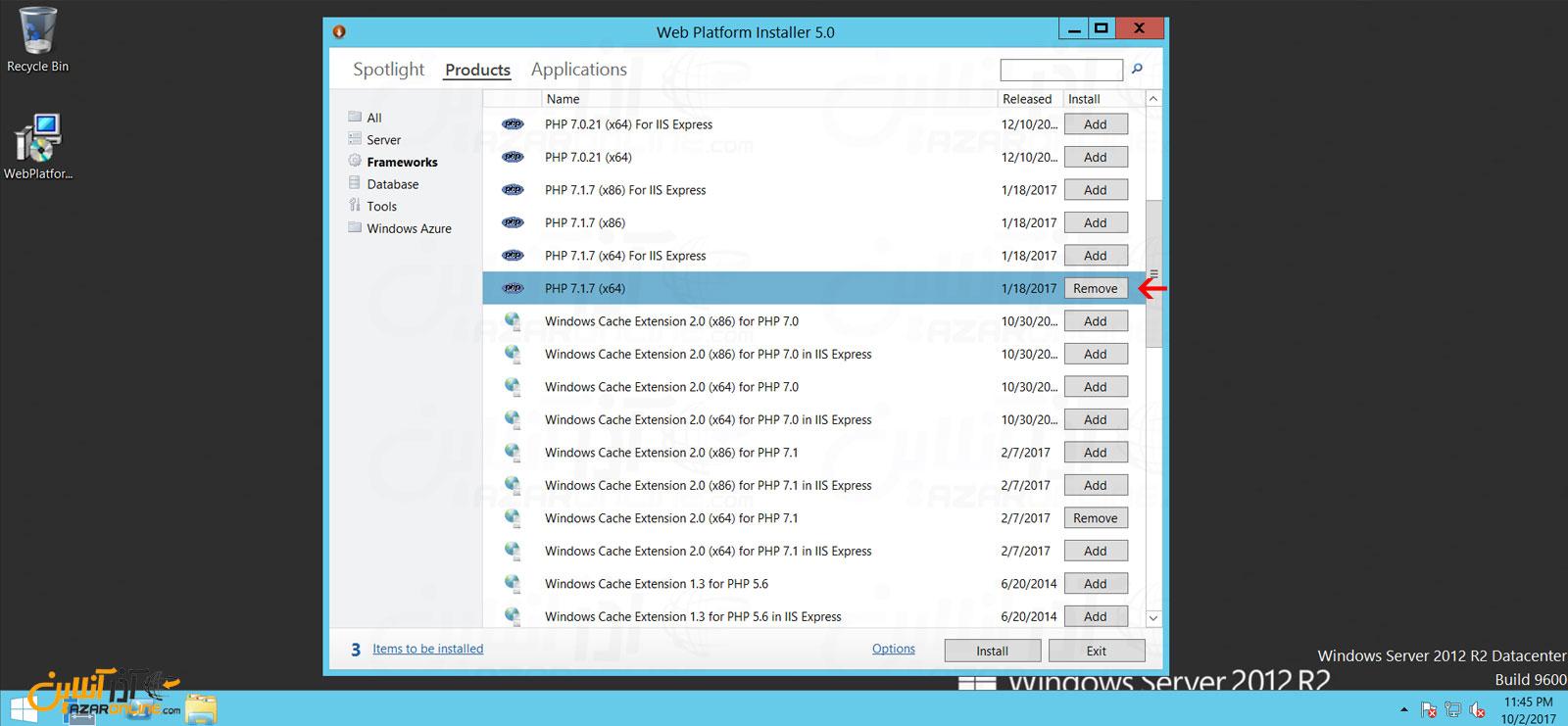 انتخاب ورژن PHP برای نصب بر روی ویندوز