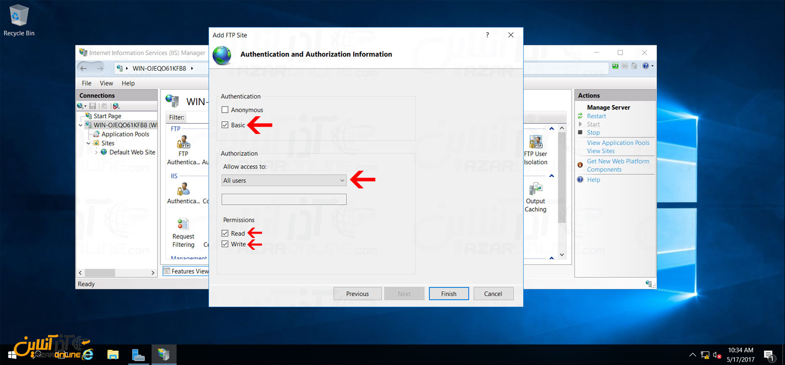 تنظیم Authorization و Authentication سایت FTP