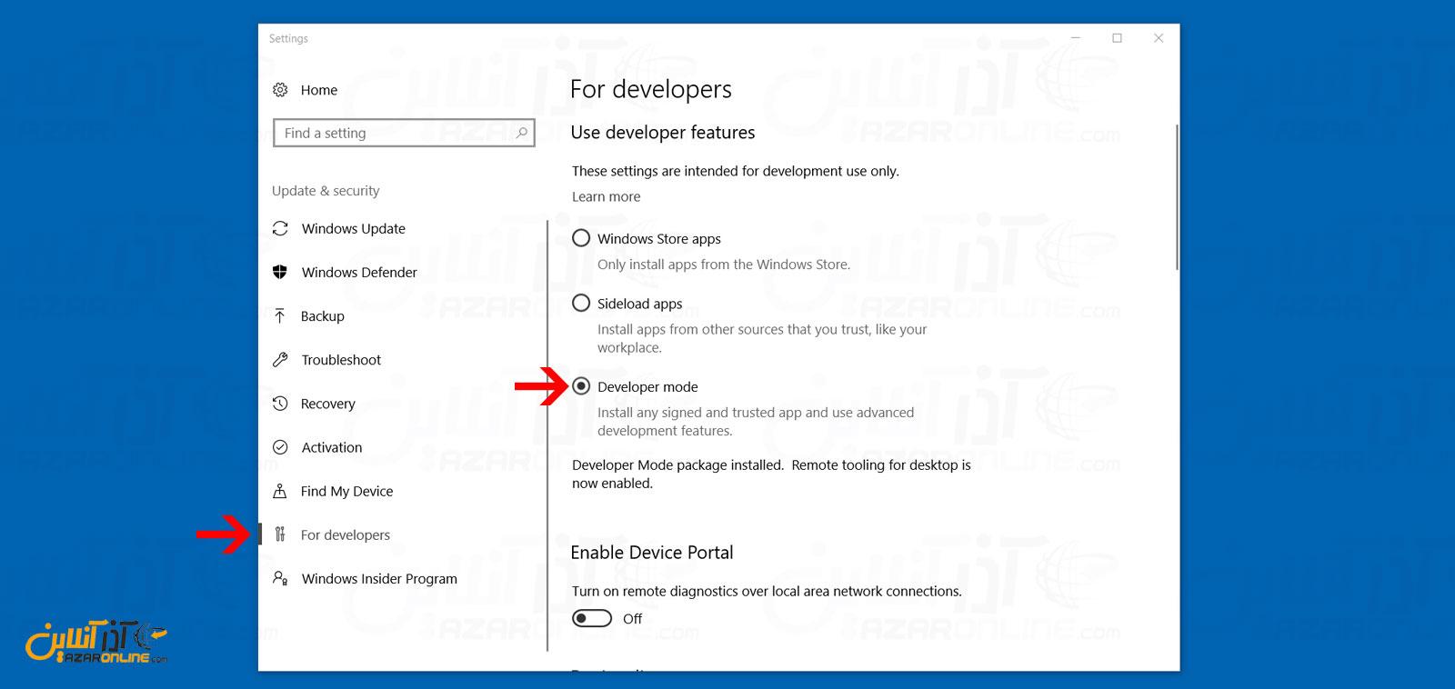 تنظیم ویندوز بر روی حالت Developer
