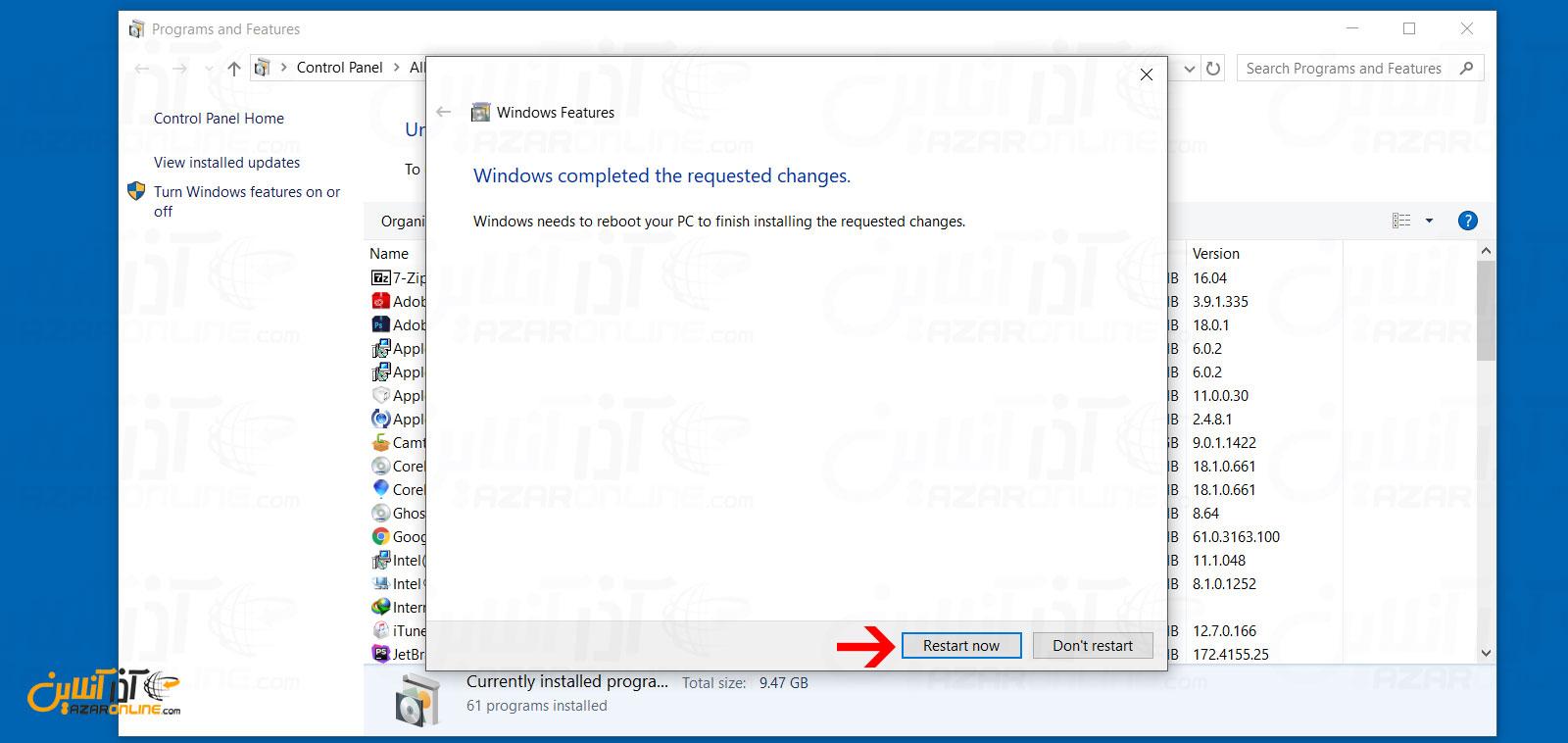 ریستارت سیستم پس از نصب Windows Subsystem for Linux