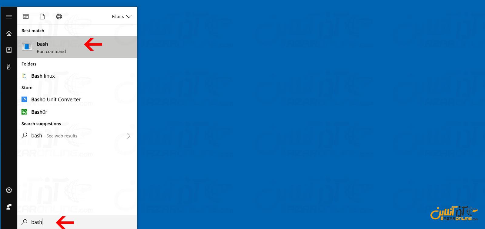 جستجو در ویندوز و باز کردن Bash لینوکس