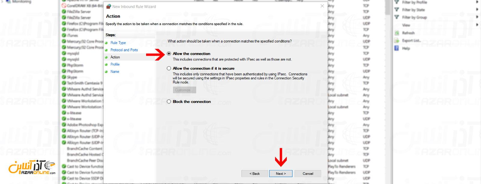اجازه دسترسی به پورت 80 برای دسترسی به Xampp