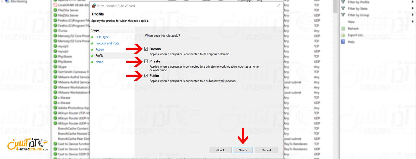 اضافه کردن رول به زون های مختلف فایروال ویندوز