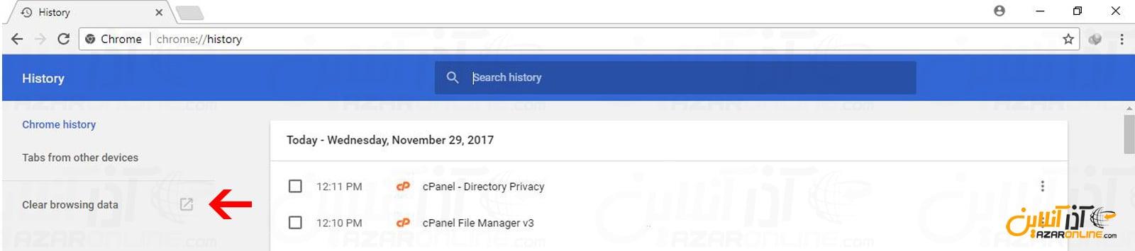 رفتن به بخش تنظیمات حذف و پاک کردن کش و سایر دیتاها گوگل کروم