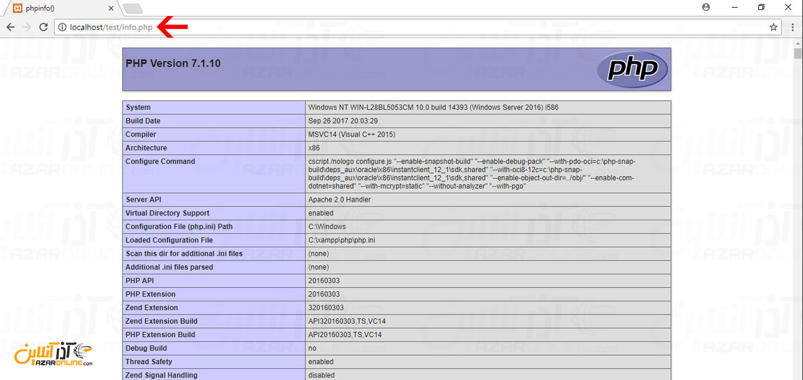 اجرای فایل php در Xampp و نمایش اطلاعات php