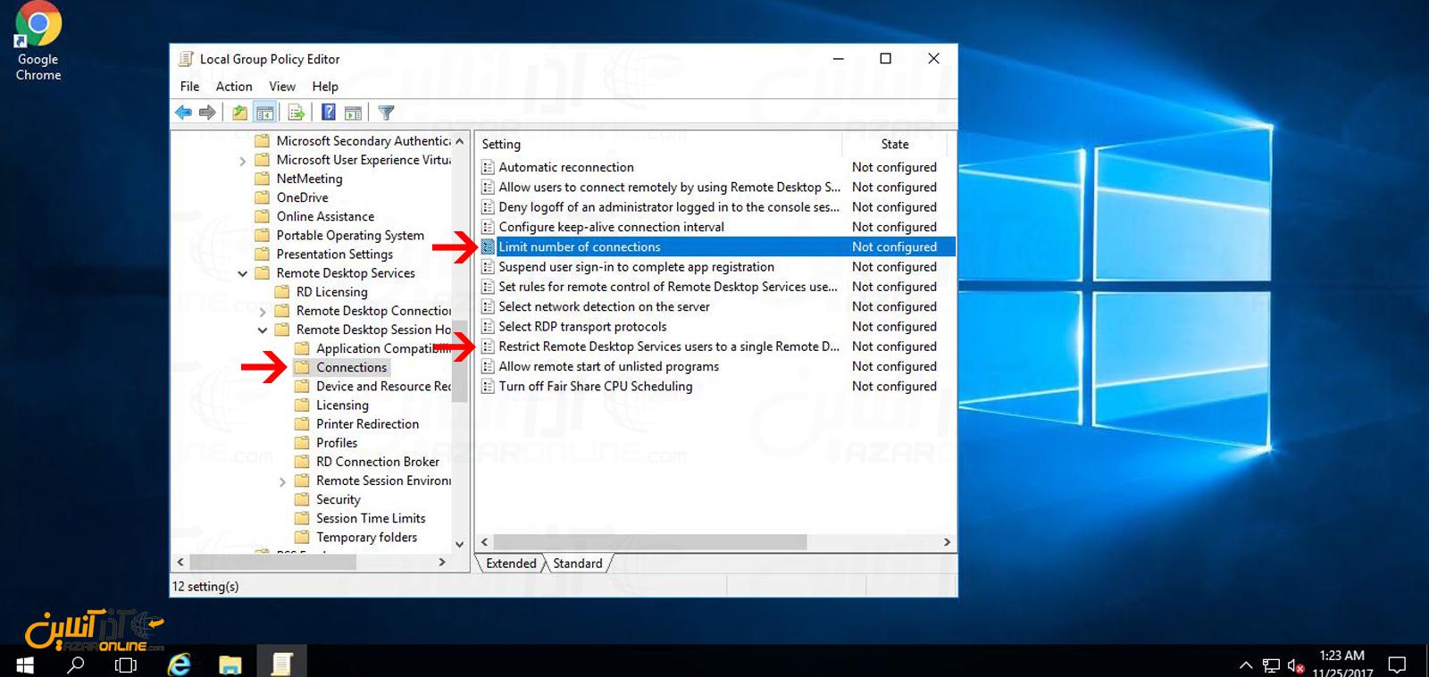 دو تنظیم محدودیت ریموت دسکتاپ در ویندوز سرور 2016