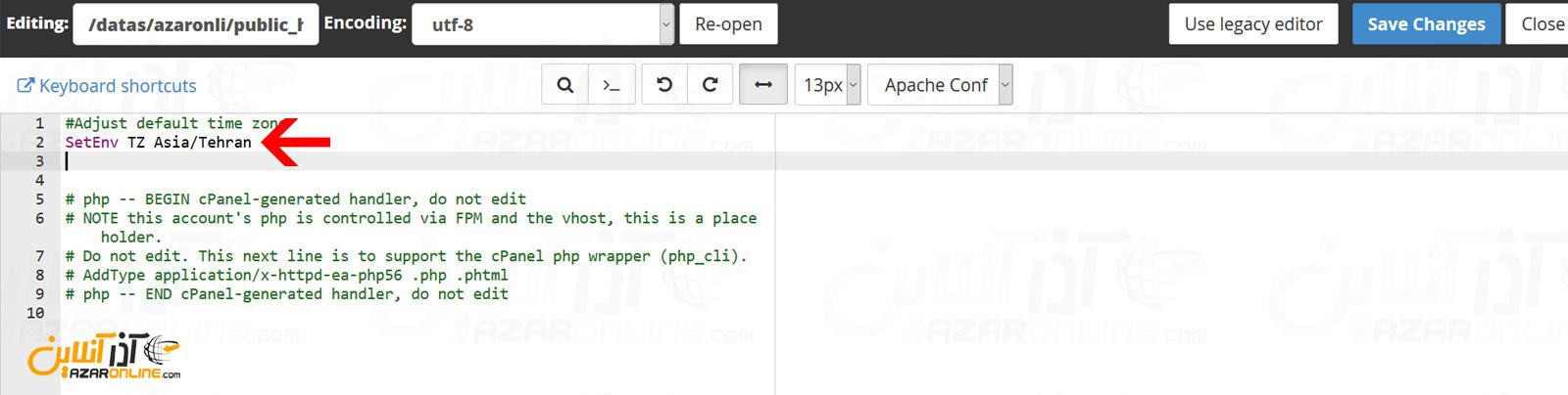 وارد کردن کد برای تنظیم Timezone در هاست اشتراکی از طریق htaccess