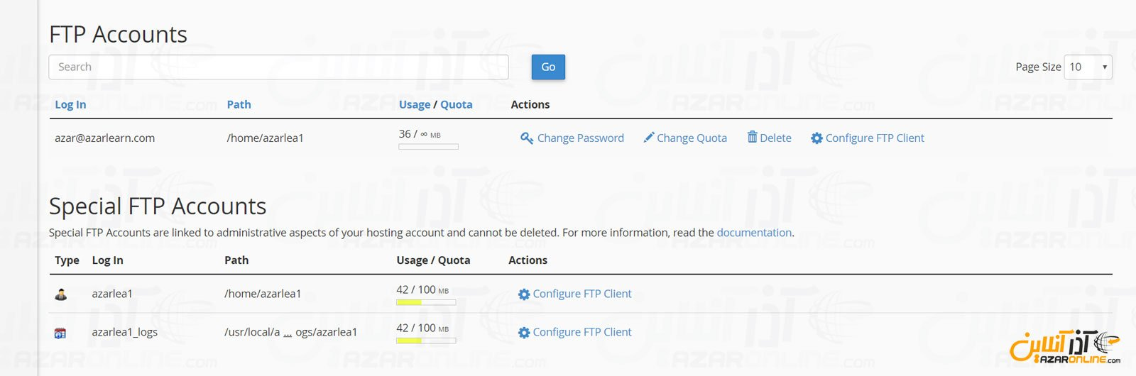 اطلاعات کامل FTP در سیپنل