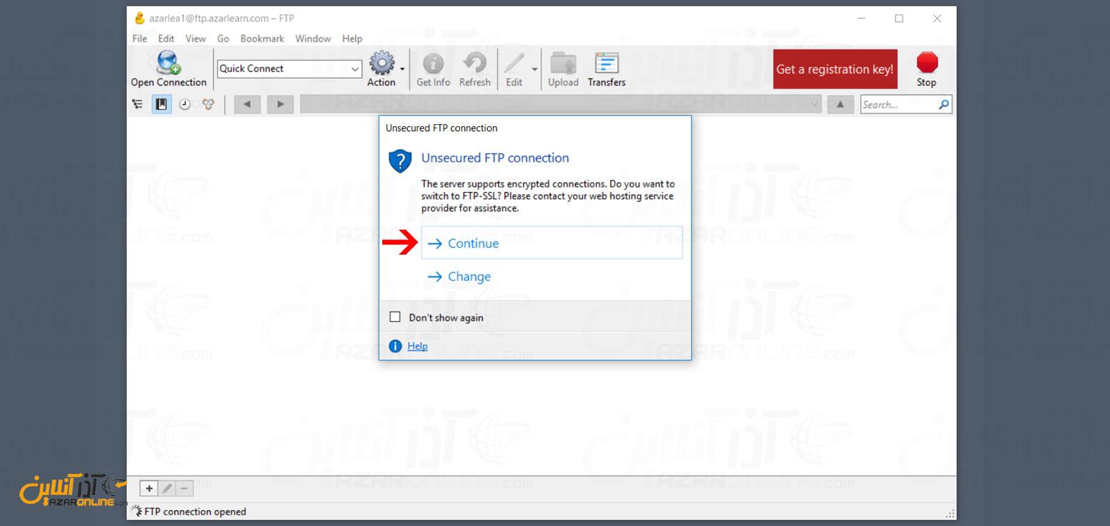 اجازه اتصال با پروتکل FTP بدون رمزنگاری