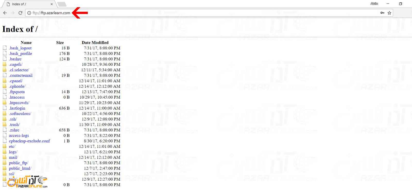 ارتباط با FTP از طریق مرورگرها
