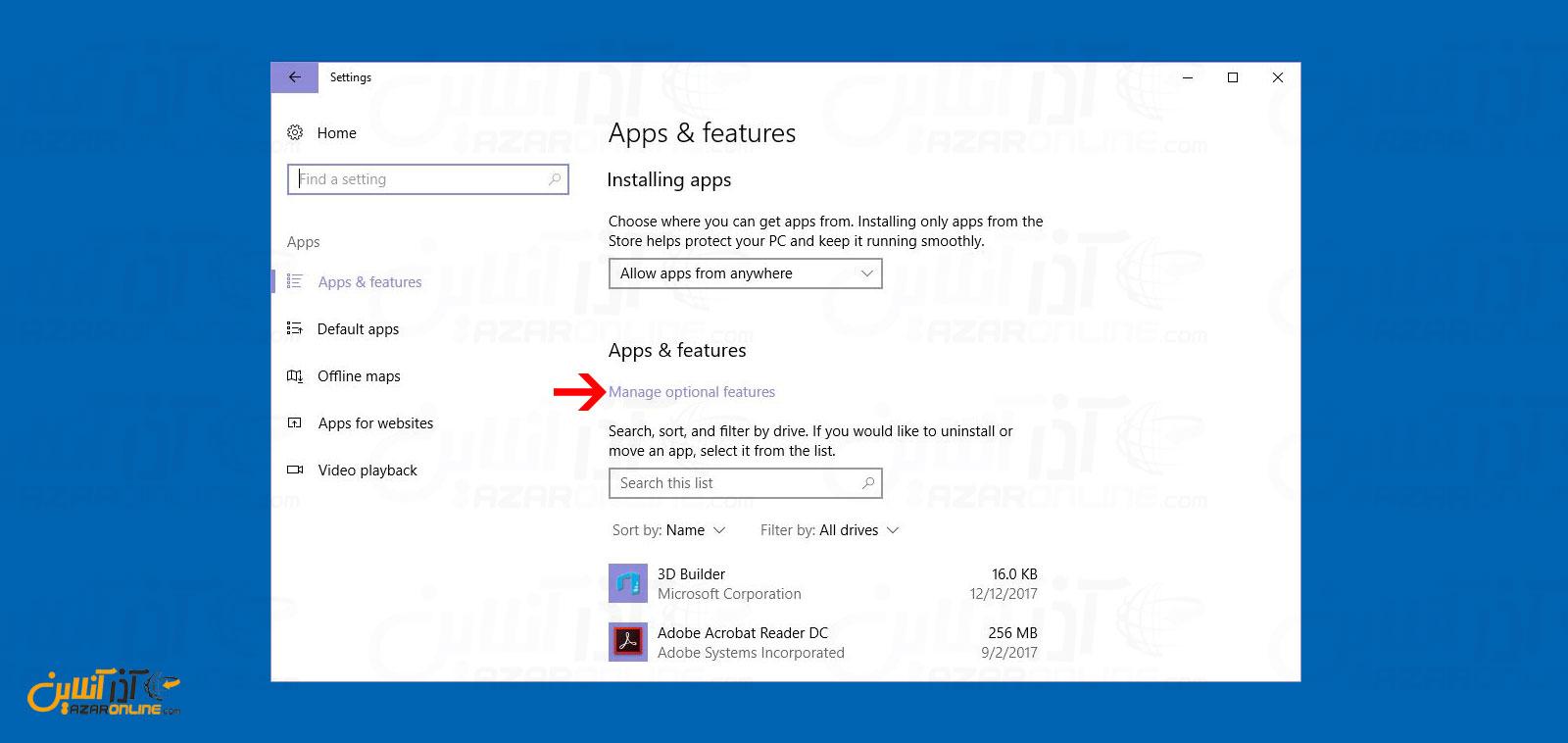 مدیریت App های نصب شده