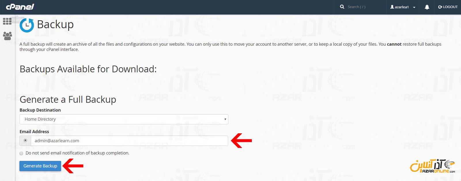 وارد کردن ایمیل و کلیک بر روی generate Backup