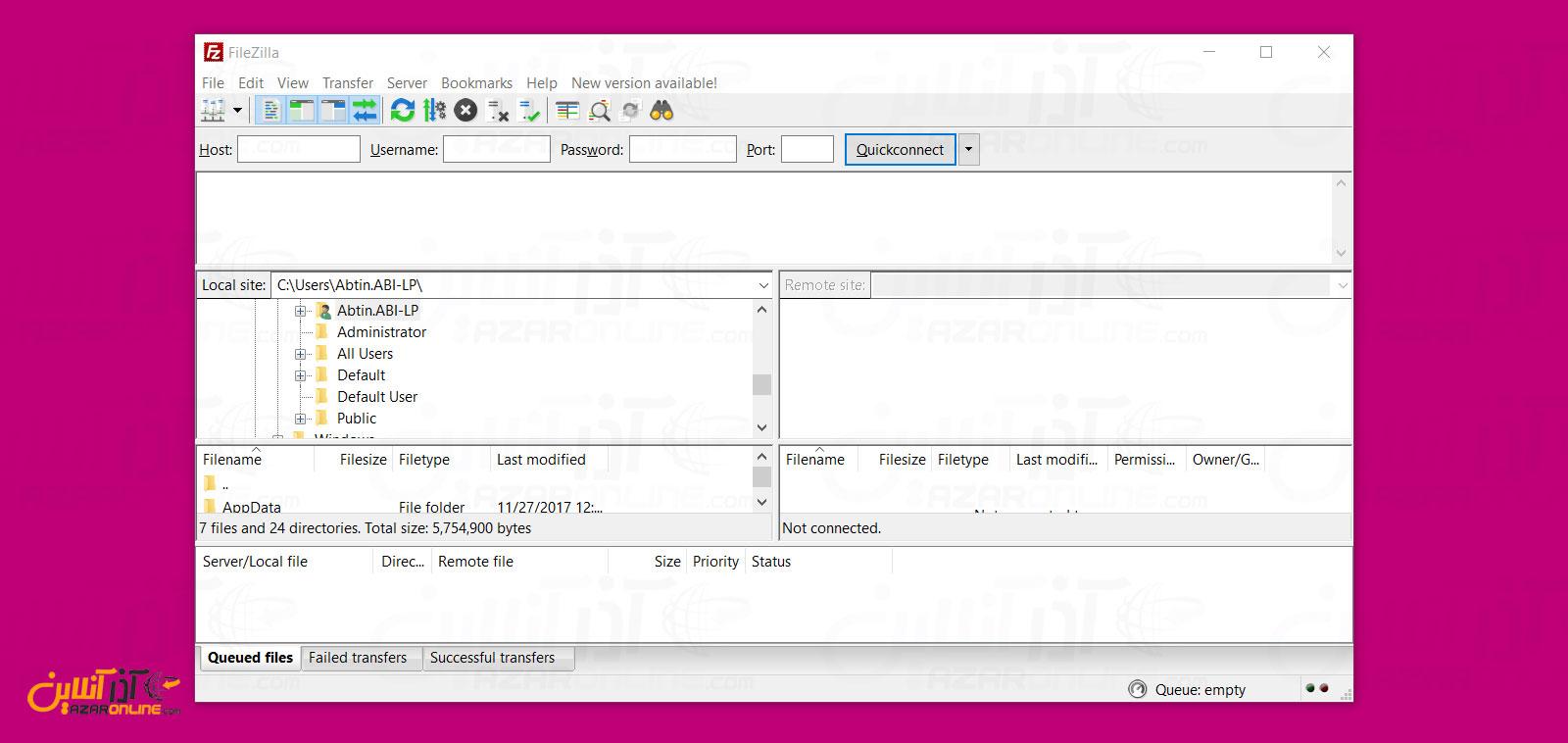 نمای از نرم افزار Filezilla
